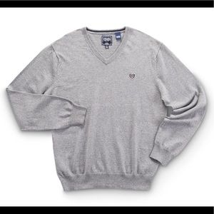 NWOT CHAPS Cashmere Blend Sweater V-Neck Grey Gray